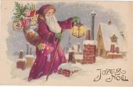 Santa Claus - Pére Noél : Joyeux Noél : Pére Noel Chargé De Cadeaux Dans Sa Hotte - Sur Les Toits - Santa Claus