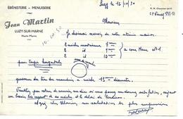 Facture 1/2 Format 1950 /  52 LUZY / J. MARTIN / Ebéniste, Menuisier - 1900 – 1949