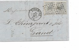 SH 0305.  Paire N° 17 Los Pts 367/TURNHOUT 19 JUIL 67 S/LAC V. Gand. Très Belles Frappes. - 1865-1866 Profile Left