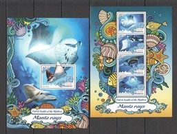 ML050 2016 MALDIVES MARINE LIFE MANTA RAYS 1KB+1BL MNH - Marine Life