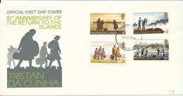 Tristan Da Cunha FDC 10-11-1973 10th Anniversary Of Return To The Islands With Cachet - Tristan Da Cunha