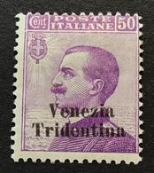 """Trentino-Alto Adige 1918 Sa. 26 = 260€ Mint * VF """"VENEZIA TRIDENTINA"""" (1914-18 War Italy Regno D' Italia Italie - Trente"""
