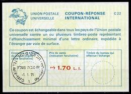 ISRAEL La22A Bale 040 1.70 L.I. International Reply Coupon Reponse Antwortschein IAS IRC O TEL AVIV 1.1.75 FD! - Briefe U. Dokumente