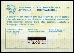 ISRAEL La22J Bale 041 2.00 L.I. / 1.70 L.I. Int. Reply Coupon Reponse Antwortschein IAS IRC Surcharge Shifted mint - Briefe U. Dokumente