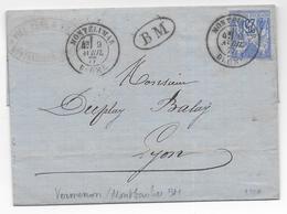 DROME - 1877 - SAGE - CACHET De BOITE MOBILE Sur LETTRE De VERMENON / MONTBAUCHER + T18 De MONTELIMAR => LYON - 1877-1920: Période Semi Moderne