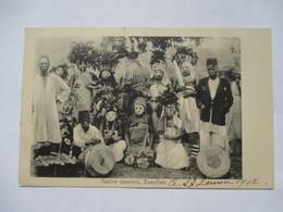 ZANZIBAR  -  NATIVE DANCERS      -  CACHET BATEAU  MARSEILLE  A  LA REUNION   L.V. N°1      TTB - Tanzanie
