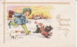 Ill Gougeon, Bonne Année, Fillette Et Chien, 2 Scans - Neujahr