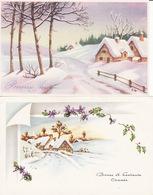 Ill Gougeon,2 Cartes,  Bonne Année, Paysage De Neige, 2 Scans - Neujahr