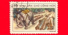 VIETNAM Nord - Viet Nam - 1969 (1968) - Elefante Da Lavoro (Elephas Maximus) Durante Il Trasporto Del Legname - 12 - Vietnam