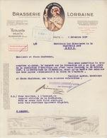"""Lettre à Entête Illustrée De La Brasserie Lorraine (Lorraine Avec Verre) En 1938 + Cachet Rouge """"Heures De Réception"""" - Alimentos"""