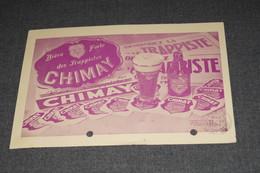 Ancienne Publicité De Brasserie,bière Trappiste De Chimay 1957 ,originale , 17,5 Cm. Sur 12,5 Cm.sur Carte Postale - Autres