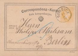 Autriche Entier Postal Dembica Pour L'Allemagne 1876 - Entiers Postaux