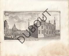 Originele Kopergravure Kasteel Van GESTEL, BERLAAR - 18de Eeuw  (J156) - Documents Historiques