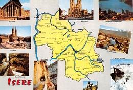 ISERE - Plan Départemental : Voiron, Bourgoin, Paladru-Charavines, Alpe-d'Huez, Grenoble, Laffrey, Chartreuse, Vercors.. - Unclassified