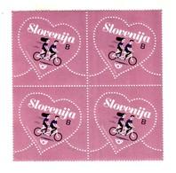 3333 Slowenien Slovenia 2020 ** MNH Block Of 4 Greetings Love Unusual Shape Heart Boy Girl On Bicycle Bike - Slowenien