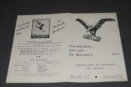 Ancienne Publicité 1934, Pour Cartouches De Chasse,poudrerie Mullerite ,28 Cm. Sur 21,5 Cm. - Pubblicitari