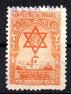 Impuesto Del Timbre Con Numeracion Al Dorso. - Spanish Morocco