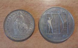 Suisse - 2 Monnaies : 2 Francs 1964 En Argent Et 5 Francs 1987 Commémorative Le Corbusier - Suisse