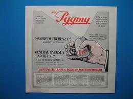 """(1936) Lampe De Poche """" PYGMY """"  - Manfredi Frères & Cie à Annecy (Haute-Savoie) - Publicités"""