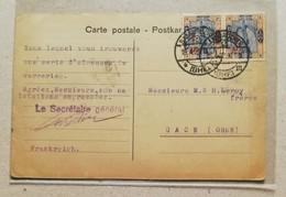 Cartolina Postale Sarre Francese Per Gace (Orne) - 19/04/1922 Affrancata Con Coppia Da 5cent. Sovrastampata Su 25cent. - Storia Postale