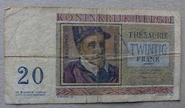 20 Frank 03.04.1956 - [ 2] 1831-... : Reino De Bélgica