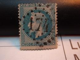 Timbre Empire Français 20 C. Napoléon III  Lauré   . N°29 B - 20 C Bleu, Type II, Oblitéré . 1747 - 1863-1870 Napoleone III Con Gli Allori