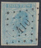 """émission 1865 - N°18 Non Dentelé Obl Pt 410 """"Zele"""". TB Et R - 1865-1866 Profil Gauche"""