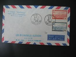 """Enveloppe 1956   1 Er Liaison """" Air France """"  Alger - Bone - Constantine 20 Février - Algeria (1924-1962)"""
