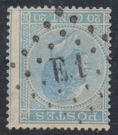 émission 1865 - N°18 Obl Ambulant Pt E.1 (Bruxelles - Verviers) - 1865-1866 Linksprofil