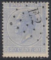 émission 1865 - N°18 Obl Ambulant Pt E.2 (Bruxelles - Verviers) - 1865-1866 Linksprofil