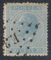 émission 1865 - N°18 Obl Ambulant Pt E.3 (Bruxelles - Verviers) - 1865-1866 Linksprofil