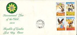 Zambia FDC 21-9-1979 International Year Of The Child  With Cachet Complete Set Of 4 - Zambia (1965-...)