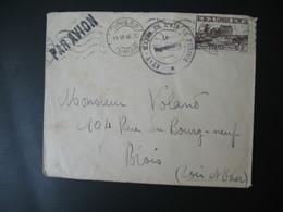 """Enveloppe 1946 Cachet  """" Etat Major De L'Air En Tunisie """"  Voyagé Par Avion Départ Tunis RP Pour Blois Loir Et Cher - Tunesien (1888-1955)"""