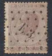 émission 1865 - N°19 Obl Ambulant Pt E.3 (Bruxelles - Verviers). TB - 1865-1866 Linksprofil