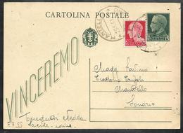 W312  - INTERO POSTALE 15 C. VINCEREMO USATO NEL 1943 - 4. 1944-45 Repubblica Sociale