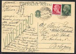 W313  - INTERO POSTALE 15 C. VINCEREMO USATO NEL 1944 - 4. 1944-45 Repubblica Sociale