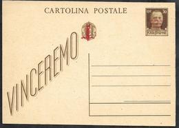 W318  - INTERO POSTALE 30 C. VINCEREMO SOPRASTAMPATO R.S.I. - 4. 1944-45 Repubblica Sociale
