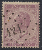 "émission 1865 - N°21 Obl Pt 424 ""Bruxelles (Lux)"". TB - 1865-1866 Linksprofil"