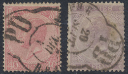 """émission 1865 - N°20 Et 21 + Grand Cachet """"Bruxelles / PD"""" // Imprimé - 1865-1866 Linksprofil"""