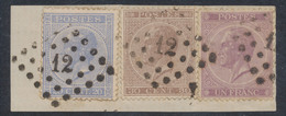 """émission 1865 - Affranch. Tricolore Sur Fragment çàd N°18,19 Et 21 Obl Pt 12 """"Anvers"""". TB - 1865-1866 Linksprofil"""
