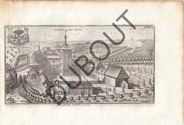 Originele Kopergravure Kasteel Van Carloo St-Job, UKKEL - 18de Eeuw  (J106) - Documents Historiques
