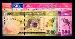# # # 5 Banknoten Sri Lanka 20 + 50 + 100 + 500 + 1000 Rupees UNC # # # - Sri Lanka