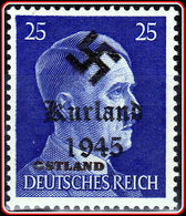 WW2 - Deutshe Post Osten - OSTLAND Adolf Hitler Head  Stamp With Overprint Kurland 1945 Deutshe Post Osten OSTLAND - Germany