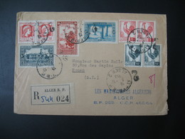 Enveloppe Alger 1953 Recommandé N° 544024   Départ Alger  RP Pour Rouen Bel Affranchissement - Algeria (1924-1962)