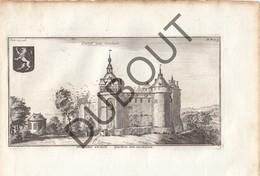 Originele Kopergravure Kasteel Van GAASBEEK - 18de Eeuw  (J129) - Documents Historiques