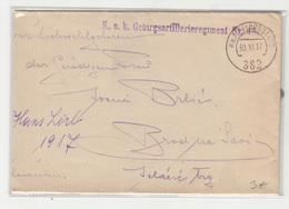 Austria WWI K.u.K. Gebirgsartillerieregiment Nr.13 Feldpost Letter Cover Posted 1917 FP382 To Ivana Brlić Brod Na Savi - Croatia