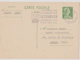 FRANCE 1956 Entier Postal Lens Pour Arras 1-9-1956 Repiquage Marianne De Muller N°YT 1010 - Standaardpostkaarten En TSC (Voor 1995)