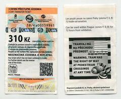 Used Czech 3 Day Transfer Ticket - Prague Praha - Available 72 Hours - CZ - Zebra Zèbre - Tramways