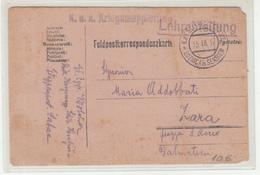 Austria WWI Feldpost Postcard Posted 1917 K.u.K. Kriegsmappierung Lehrabteilung Feldpost Etappenpostamt Loznica To Zara - Croatia