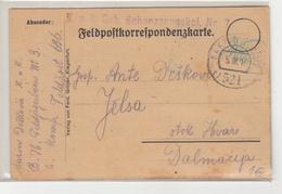 Austria WWI Feldpost Postcard Posted 1917 FP521 K.u.K. Geb. Schanzzeuqskol. Nr. 7 To Hvar B200125 - Croatia